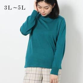 メリノウール100%ハイネックセーター (ターコイズ)