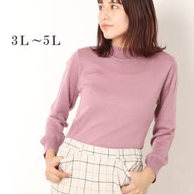 メリノウール100%ハイネックセーター (ピンク)