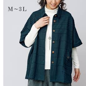 綿100%タックデザインジャケット (ネイビー)