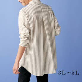<SOLOTEX(R)>ストレッチビッグシャツ (ブラウンストライプ)