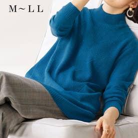 ウールカシミヤ編地変化セーター (ブルー)