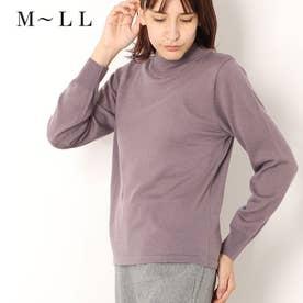 メリノウール100%ハイネックセーター (ローズグレー)