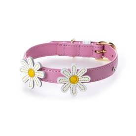 マーガレットレザーカラー 28 小型犬革首輪 (ピンク)【返品不可商品】