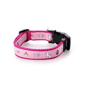 mimi pinson ティータイムカラー M 中型犬用ワンタッチバックル首輪 (ピンク)【返品不可商品】
