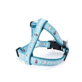 mimi pinson ティータイムハーネス M 小・中型犬用ワンタッチバックル胴輪 【返品不可商品】(ブルー)
