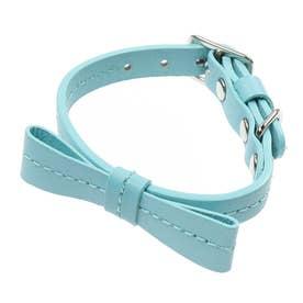 リボンステッチカラー 18 小型犬・猫用革首輪 (ブルー)【返品不可商品】
