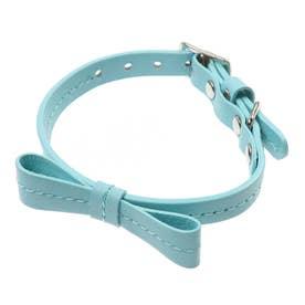 リボンステッチカラー 21 小型犬・猫用革首輪 (ブルー)【返品不可商品】