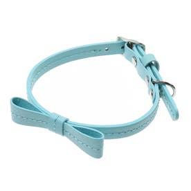 リボンステッチカラー 25 小型犬・猫用革首輪 (ブルー)【返品不可商品】