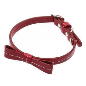 リボンステッチカラー 25 小型犬・猫用革首輪 (レッド)【返品不可商品】