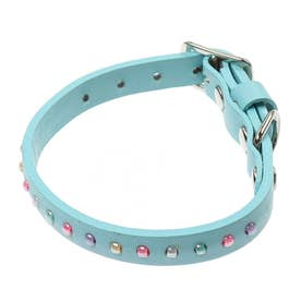 パールビーズカラー 18 小型犬・猫用革首輪 (ブルー)【返品不可商品】