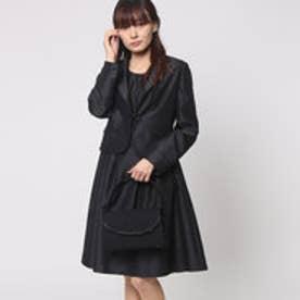 シャンタン素材 テーラードカラージャケットカラーフォーマルアンサンブル (ブラック) [ブラックフォーマル 喪服 礼服]