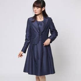 シャンタン素材 テーラードカラージャケットカラーフォーマルアンサンブル (ネイビー) [フォーマル  礼服]
