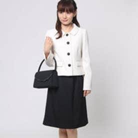 ステンカラー4つボタンジャケットのスカートスーツ (アイボリー) [フォーマル  礼服]