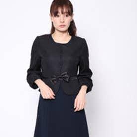 パフスリーブノーカラージャケット (ブラック) [ブラックフォーマル 喪服 礼服]