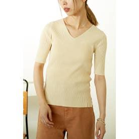 washable v neck knit tops O/WHT1
