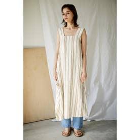 stripe linen asymmetry dress 柄BEG5