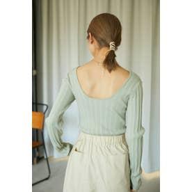 washable knit random rib tops GRN