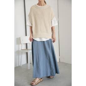pleated wrap skirt L/BLU1