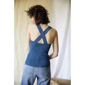 back cross knit camisole SAX