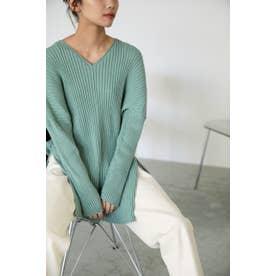 cotton washable rib knit tops GRN