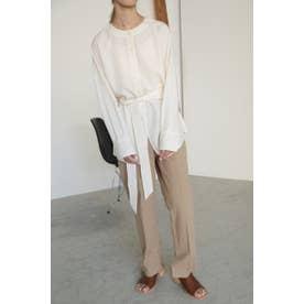 henley neck blouse O/WHT1