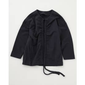 2way shirring sweat jacket L/BLK1
