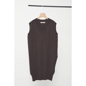 washable nosleeve vneck knit BRN