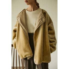 eco short fur jacket WHT