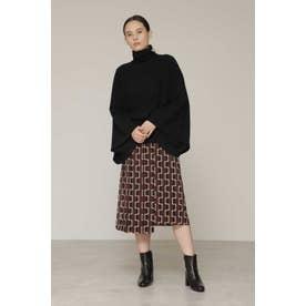 スクエアプリントスカート ブラック1