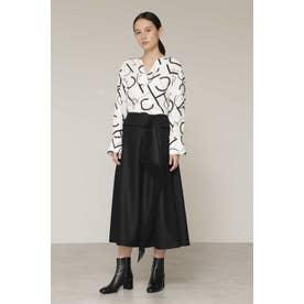 ◆フリンジカスケードフレアスカート ブラック