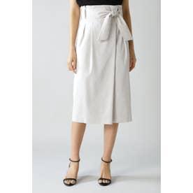 麻ストレッチセットアップスカート グレージュ1