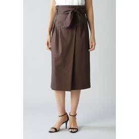 麻ストレッチセットアップスカート ブラウン