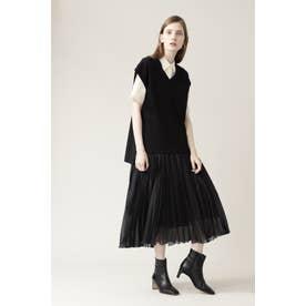 ◆イレギュラープリーツスカート ブラック