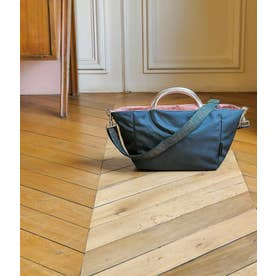 サテンナイロン 2wayバッグ「ポジターノ」 (ディープブルー*ゴールド)