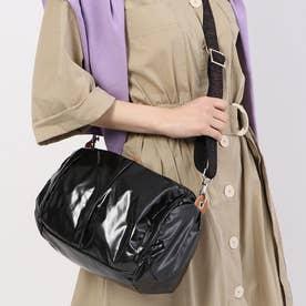フランス製メタリックカラーショルダーバッグ「マンマミーア」 (ブラック)