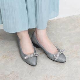 【Walk】ビジューリボンウォーキングパンプス (シルバー雑材)