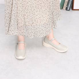 【Walk】ストラップレザーウォーキングパンプス (グレー)