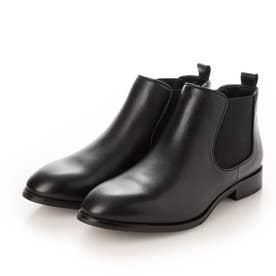 レザーサイドゴアショートブーツ (ブラック)