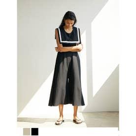 2way付け襟パンツオールインワン (ブラック)