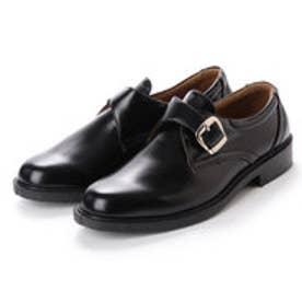 ビジネスシューズ メンズ 防水モンクストラップ 紳士靴 (BLACK)