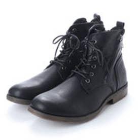 ブーツ メンズ サイドジップレースアップブーツ (BLACK)