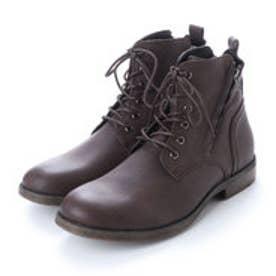 ブーツ メンズ サイドジップレースアップブーツ (D.BROWN)