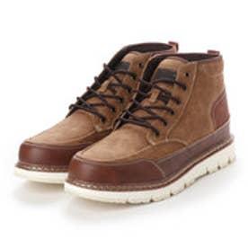 ブーツ メンズ 4cm防水モックトゥーレースアップワークブーツ (CAMEL)