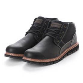 ブーツ メンズ 4cm防水プレーントゥーレースアップショートブーツ (BLACK)