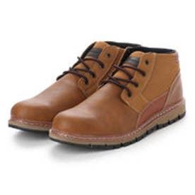 ブーツ メンズ 4cm防水プレーントゥーレースアップショートブーツ (CAMEL)