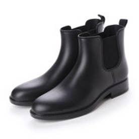 レインブーツ メンズ サイドゴア 防水雨靴(BLACK)