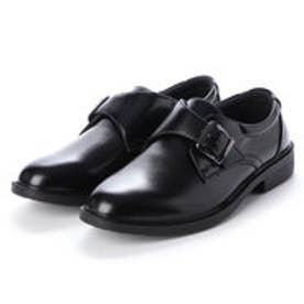 ビジネスシューズ メンズ 撥水 モンクストラップ 紳士靴 (BLACK)