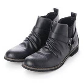 ブーツ メンズ リングベルト サイドゴア ショートブーツ (BLACK)