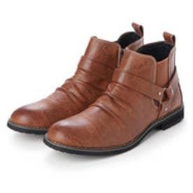 ブーツ メンズ リングベルト サイドゴア ショートブーツ (BROWN)