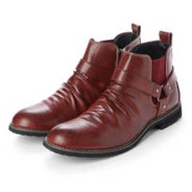 ブーツ メンズ リングベルト サイドゴア ショートブーツ  (RED.BROWN)